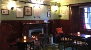 Poets bar with Burns' poem above the fire