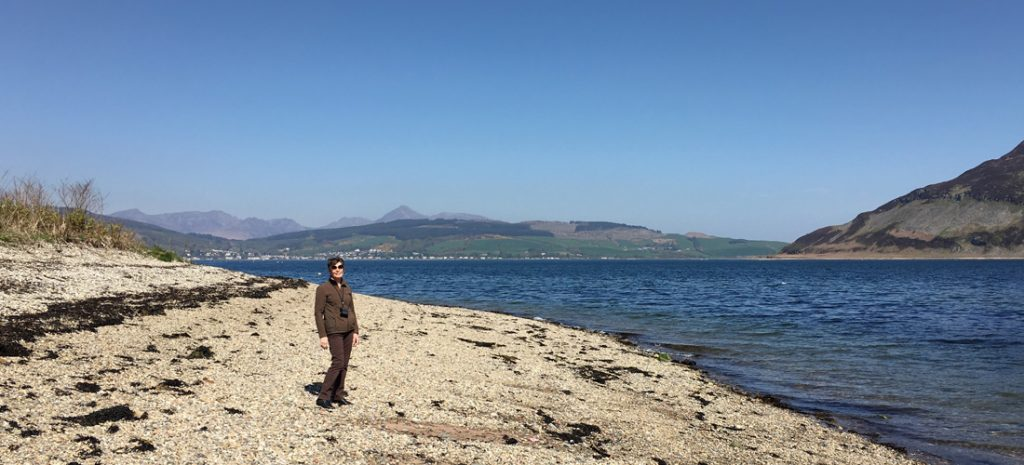 Kings Cross Point looking towards Brodick and Goatfell, Holy Isle on the right