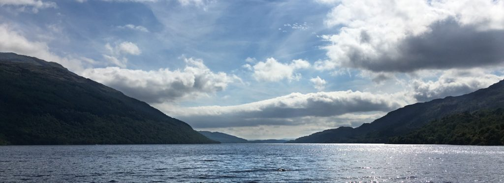 View into the sunlight down Loch Lomond