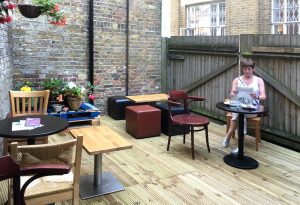 picture of garden area of Roasted Bean café in Crystal Palace