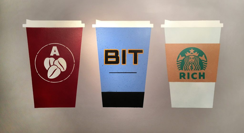 Picture of artwork portraying coffee cups from Costa, Nero and Starbucks