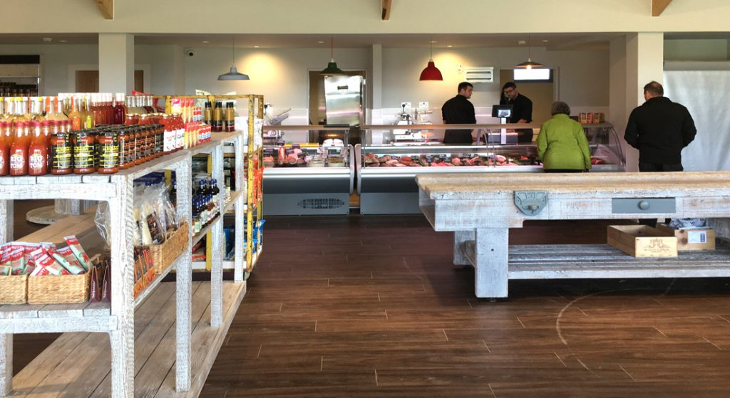 Interior view showing butchery counter at the Blair Drummond Smiddy