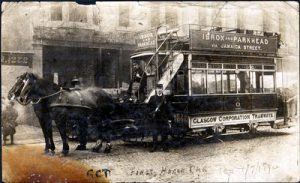 Picture of horse drawn tram in Glasgow
