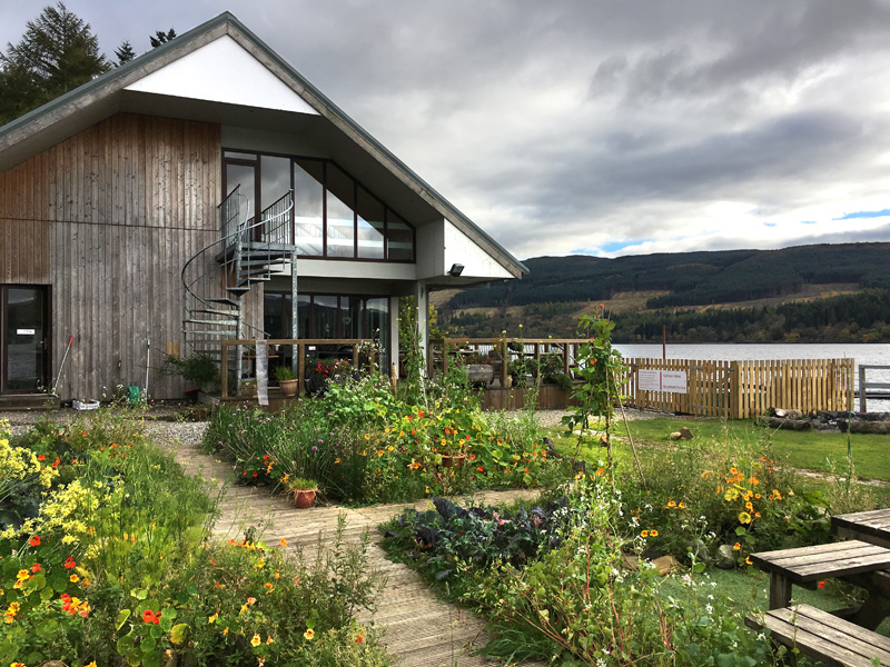 View of the Venachar Lochside café with gardens in foreground