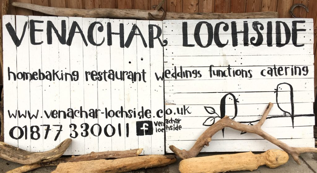 The sign board outside the Venachar Lochside café