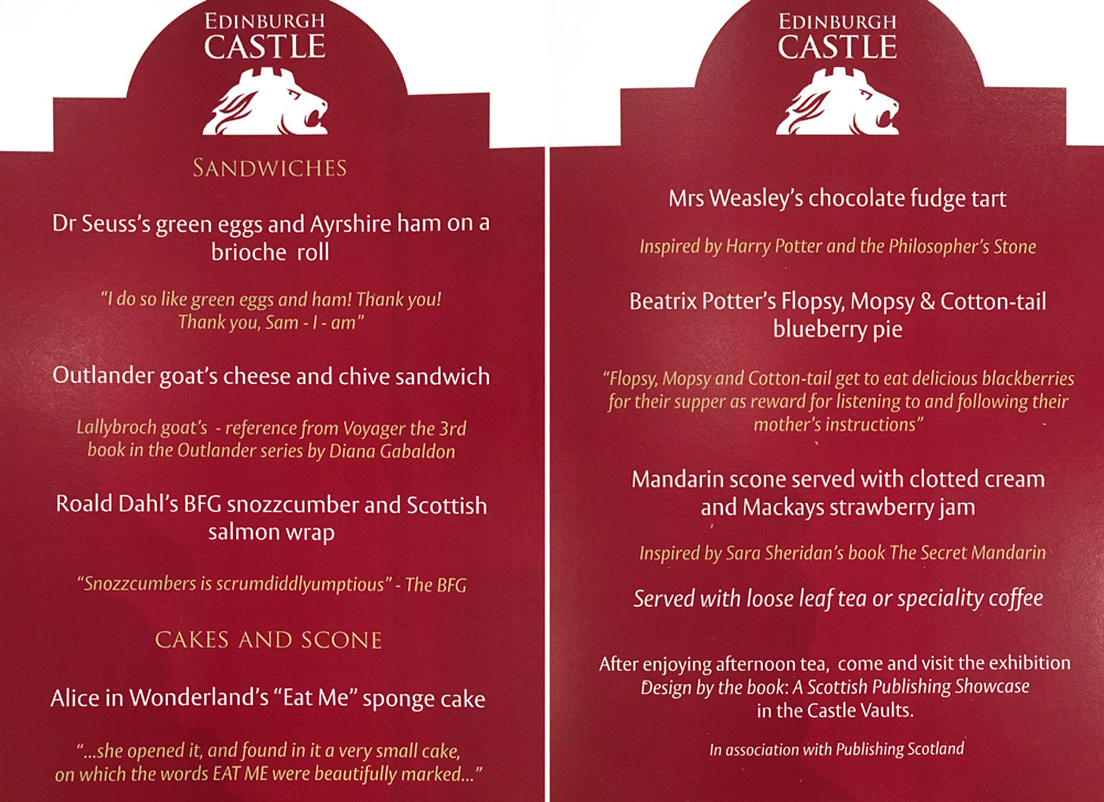 Afternoon tea menu at Edinburgh Castle