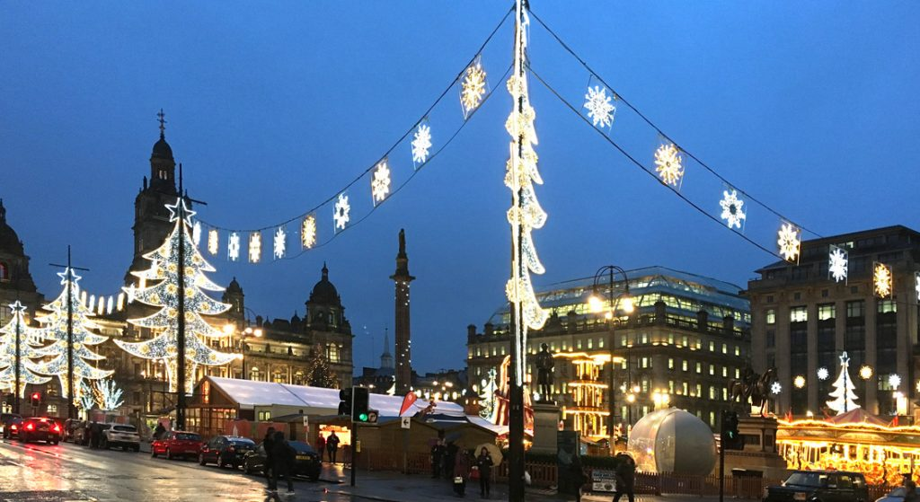 Christmas lights in George Square, Glasgow 2016