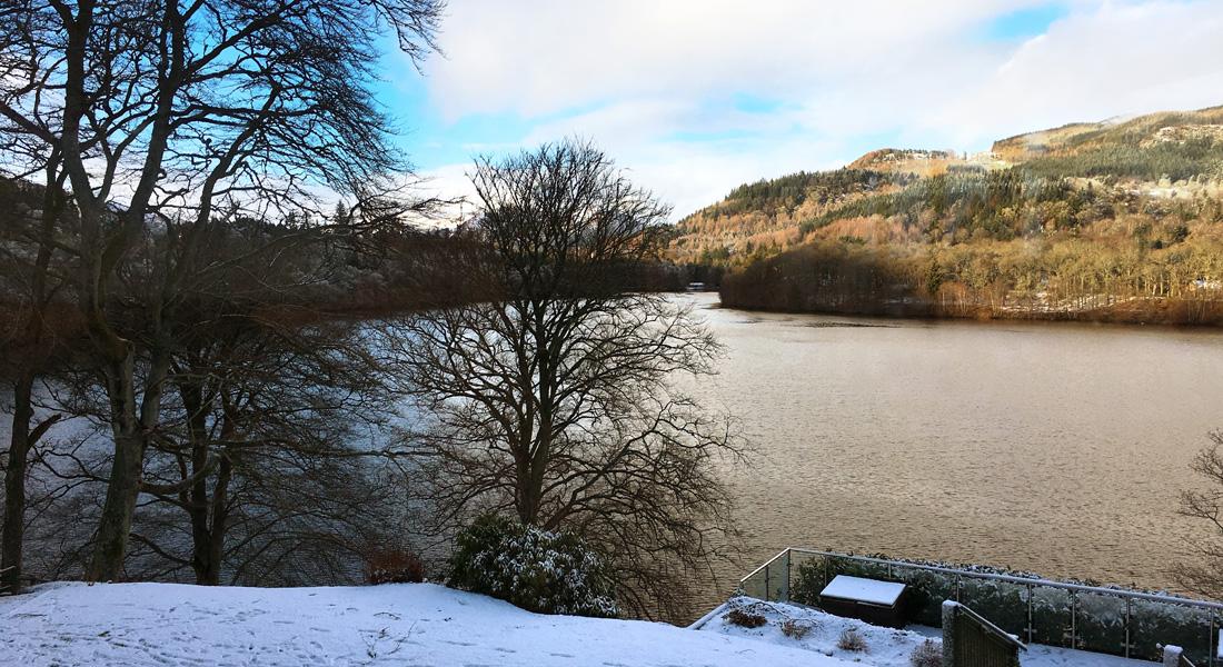 Winter view across Loch Faskally from Fonab Castle, Pitlochry