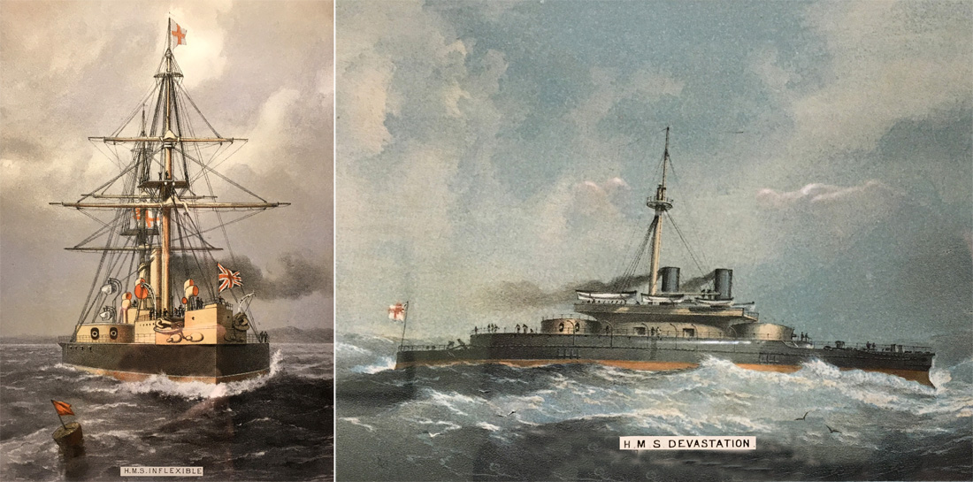 Picture of HMS Inflexible and HMS Devastation