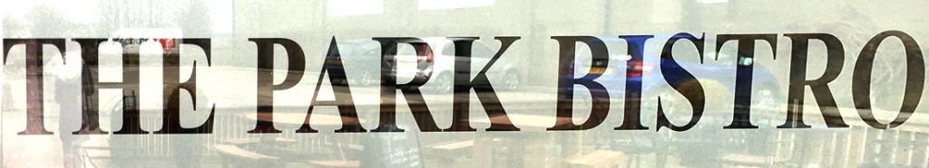 Window sign for the Park Bistro, Linlithgow