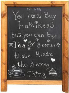 A billboard at Callendar House tearoom, Falkirk
