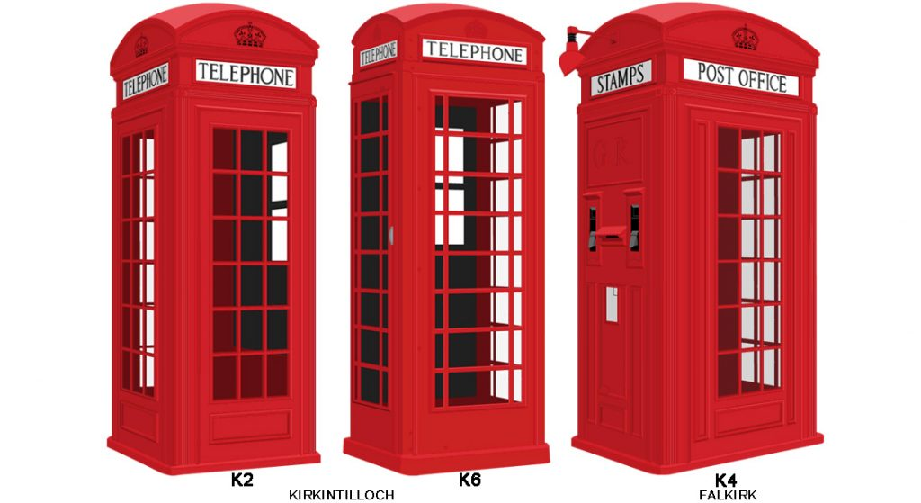 K2, K6 and K4 red telephone boxes