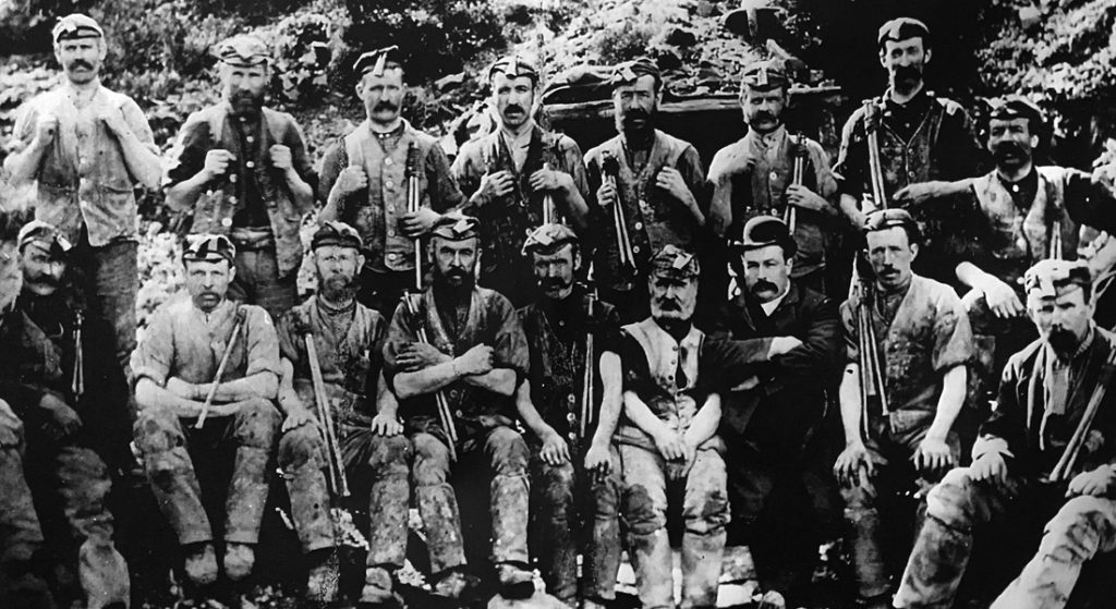 Old photo of miners at Wanlockhead