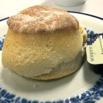 a scone in the Mabel MacKinley tearoom of Glasgow Royal Infirmary