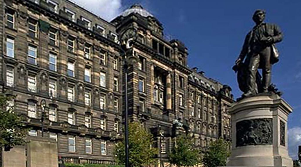 External view of Glasgow Royal Infirmary from Cathedral Square with David Livingstone statue