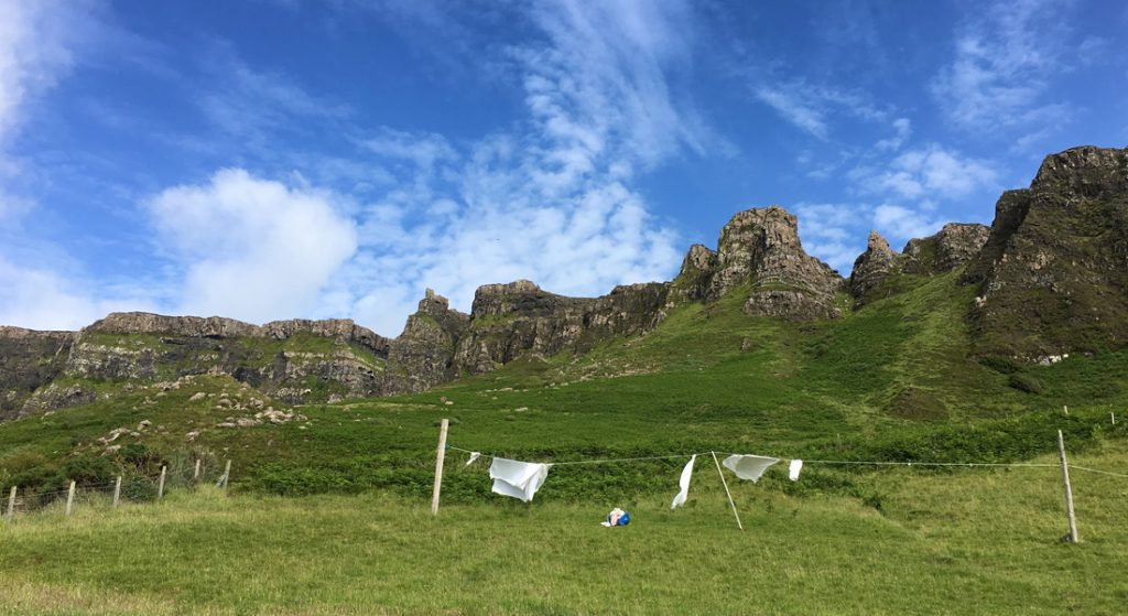 Washing drying at Cleadale on the Isle of Eigg