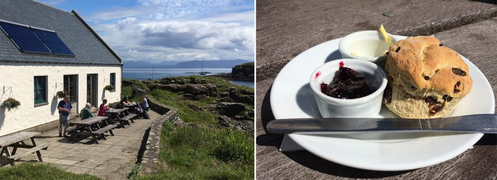 External view of Galmisdale Café & Bar on the Isle of Eigg with a scone