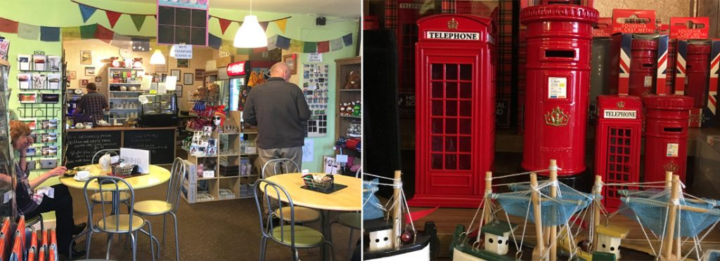 Internal view of Onich tearoom with K2 souvenir telephone box