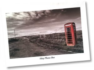 Postcard of a K6 telephone box on Islay