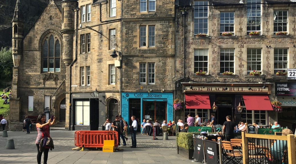 External view of Café Jaques in the Grassmarket, Edinburgh
