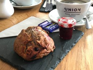 A raspberry and blueberry scone at La Barantine patisserie, Edinburgh