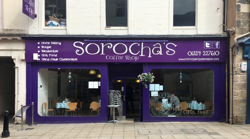 Exterior view of Sorochas Coffee Shop, Falkirk
