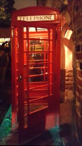 A K6 telephone box at the Portobello Bar in Vilnius