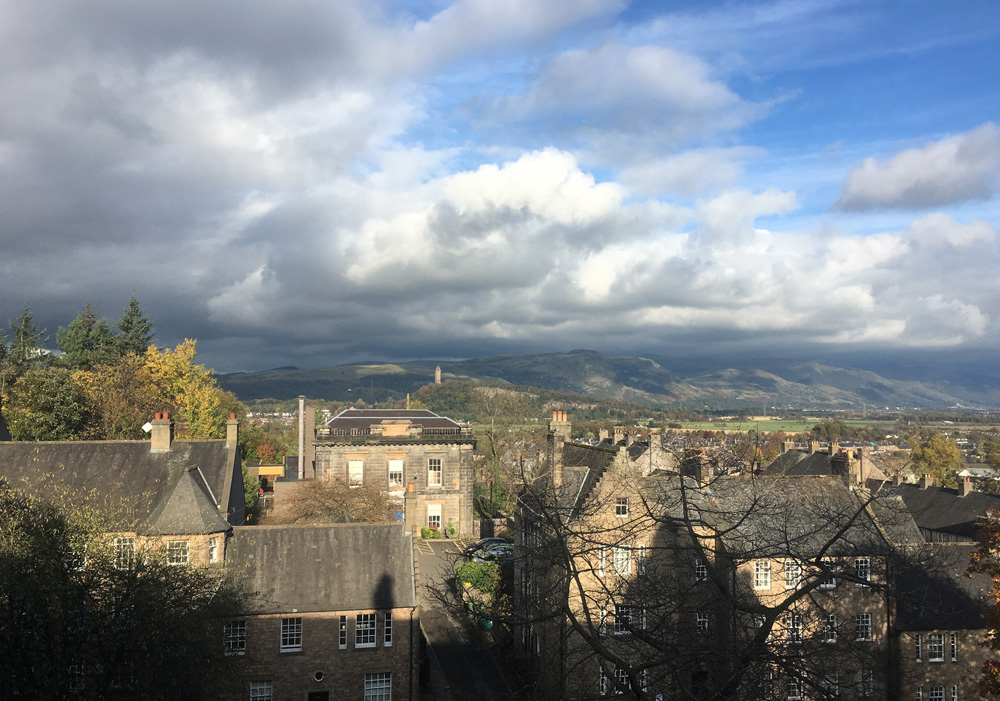 The view towards the Wallace Monument from the Stirling Highland Hotel