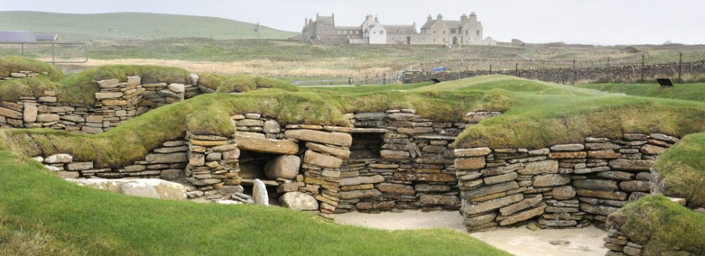 Skara Brae and Skaill House at Sandwick on Orkney