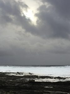 Stormy weather at Skara Brae at Sandwick on Orkney