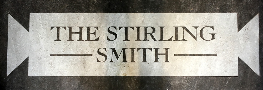 Floor sign for the Stirling Smith Art Gallery and Museum