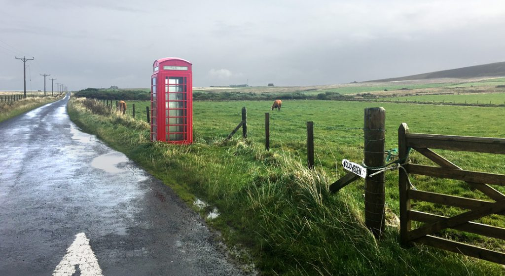 A K6 telephone box on South Ronaldsay