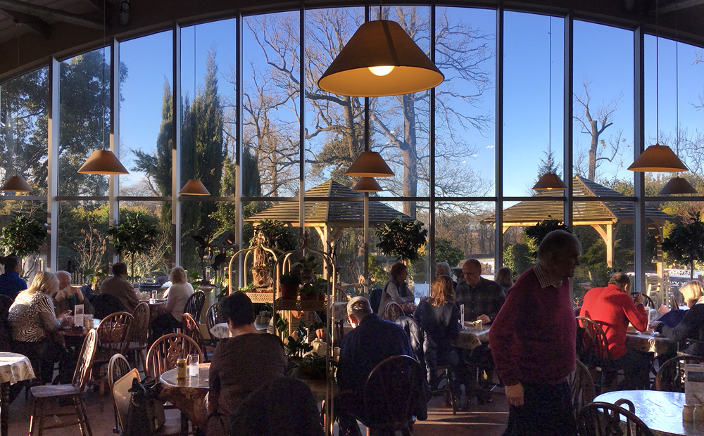 Internal view of the Orangery tearoom at New Hopetoun Garden Centre
