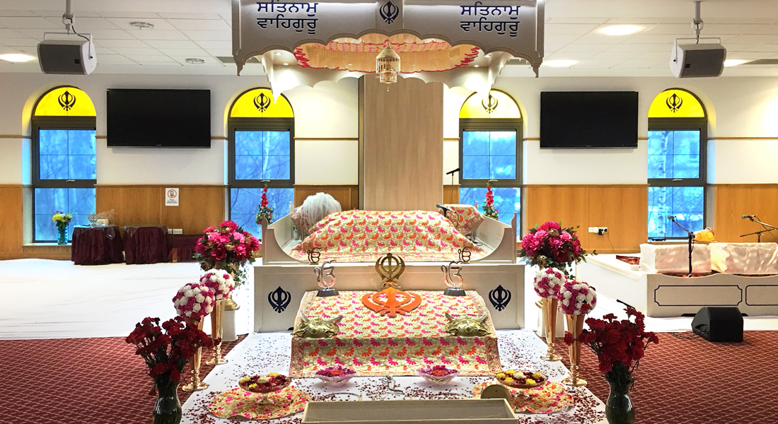 The alter at the Gurdwara Sikh temple in Pollockshields