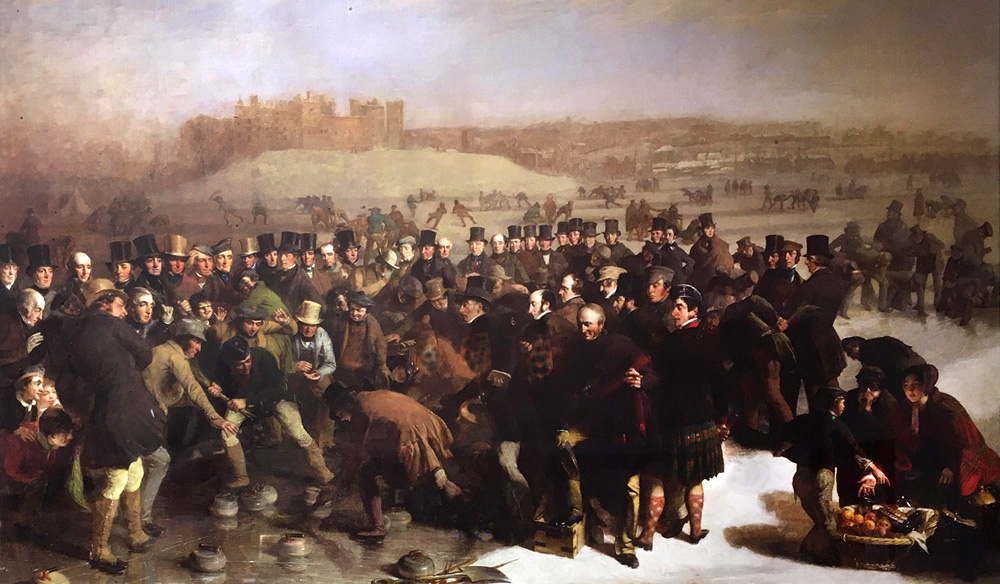 The Grand Match at Linlithgow Loch 1849 by Charles Lees