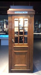 A wooden Post Office telephone box from the 1930s