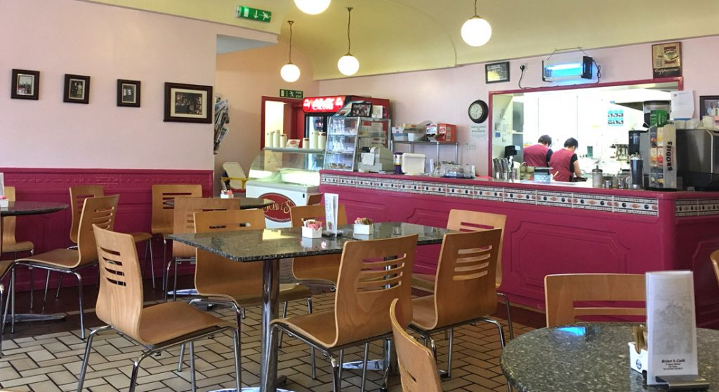 Interior view of Brian's Café in Boness