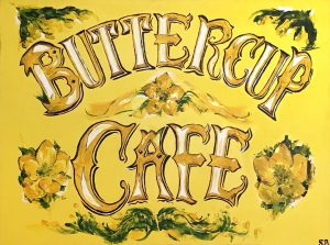 Sign for the Buttercup Cafe in North Berwick