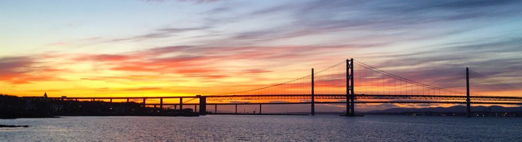 The Forth Road Bridges at sunset